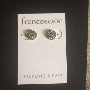 NWT sterling silver black sparkle stud earrings